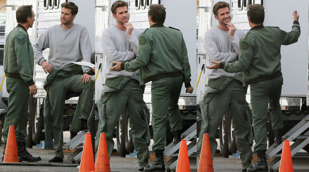 William Fichtner and Liam Hemsworth on set of Independence Day
