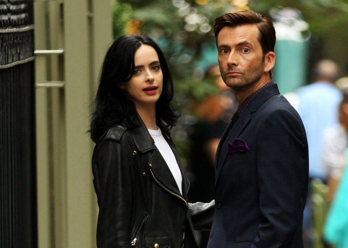 Jessica Jones season 2 Krysten Ritter and David Tennant on set