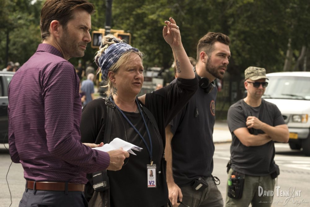 Jessica Jones season 2 Jennifer Lynch and David Tennant on set