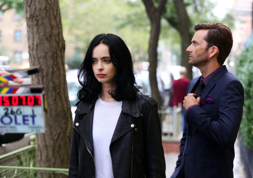Jessica Jones season 2 Krysten Ritter and David Tennant on set