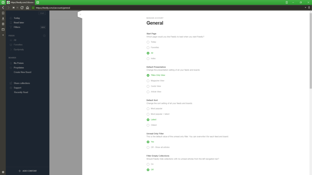 Feedly General Settings