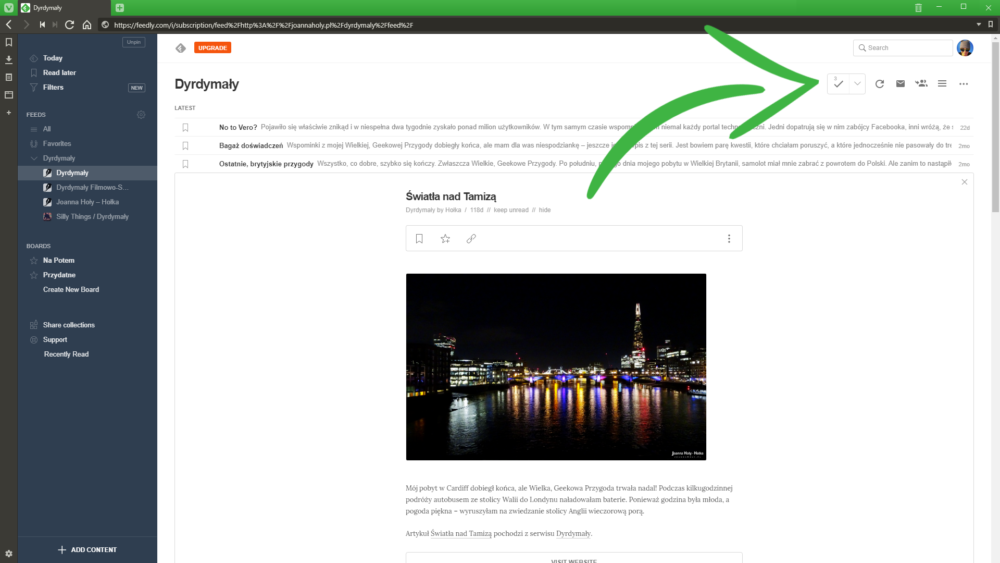 Feedly Mark as Read
