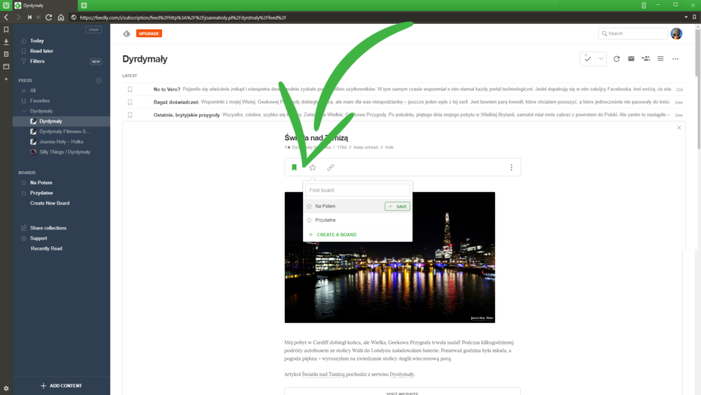 Feedly Read Later