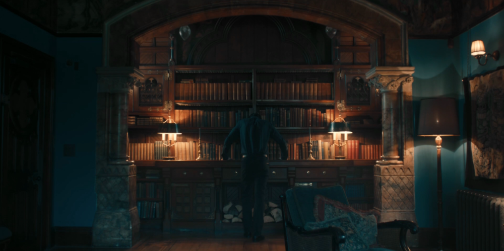 Discovery of Witches - Matthew Goode and bookshelf