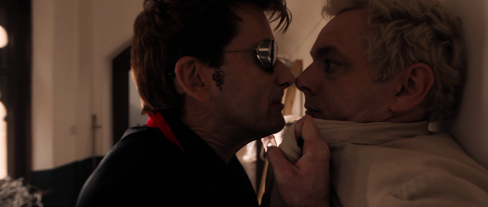Good Omens – Crowley and Aziraphale closeup