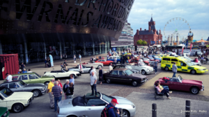 Old cars next to Wales Millennium Centre