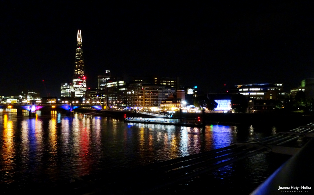 Thames at night, with Shrad and Globe Theatre