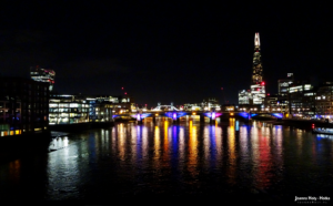 Thames at night, with Walkie-Talkie London Bridge and Shrad